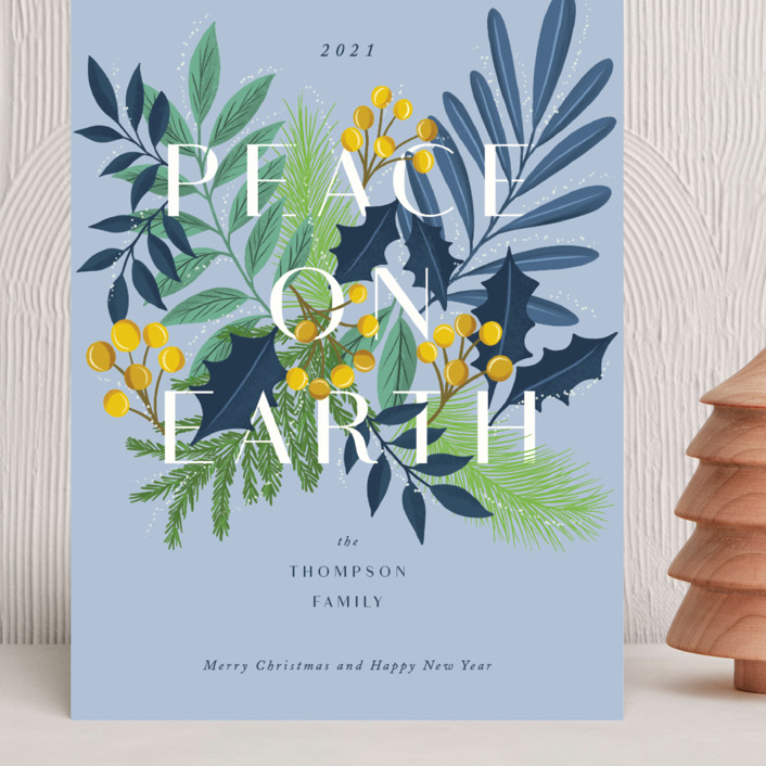 """""""Abundant peace on earth"""" - Grand Holiday Cards in Blue Bell by Yaling Hou Suzuki."""
