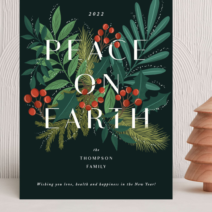"""Abundant peace on earth"" - Grand Holiday Cards in Midnight by Yaling Hou Suzuki."