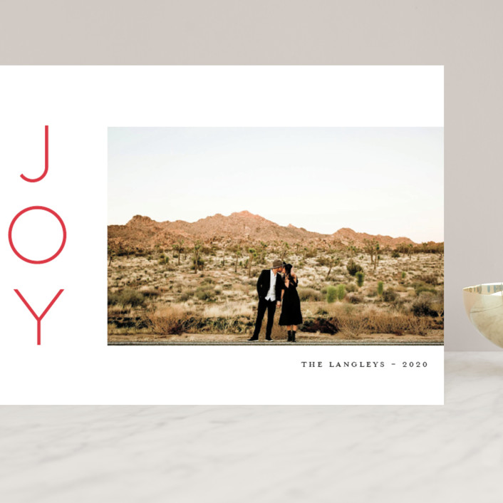 """""""Festive Joys"""" - Grand Holiday Cards in Candy Cane by Little Print Design."""