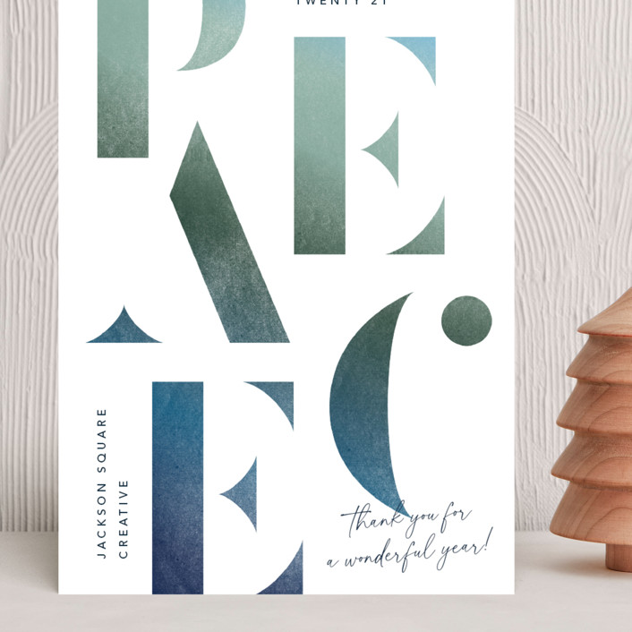 """""""Stenciled Peace"""" - Grand Holiday Cards in Blue Spruce by Robert and Stella."""