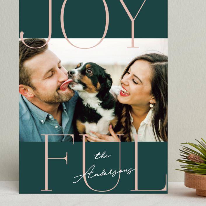 """Joyful Serif"" - Grand Holiday Cards in Pine by Kerry Doyle - Paper Dahlia."