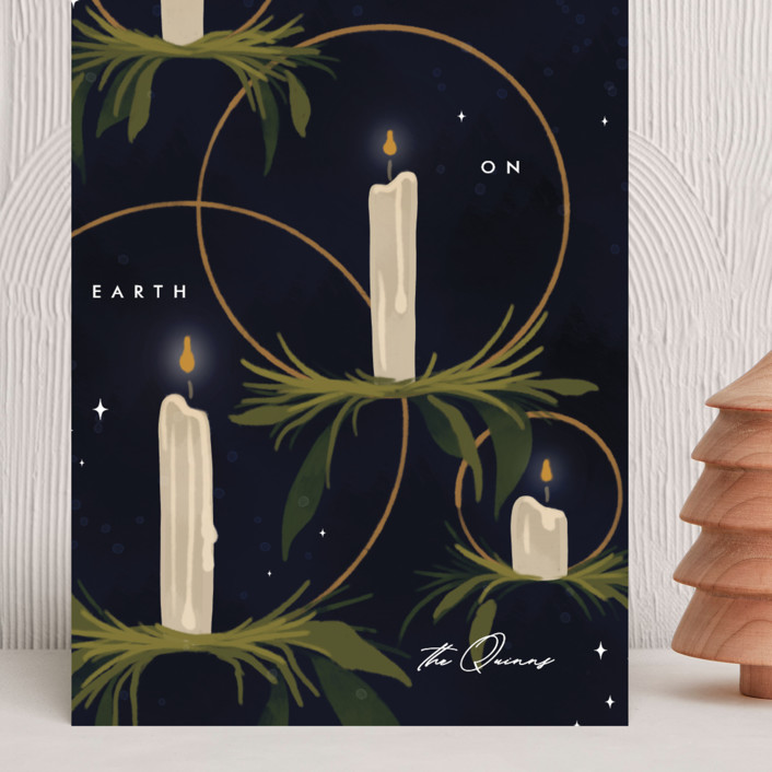 """Candlelight"" - Grand Holiday Cards in Navy by Erin L. Wilson."