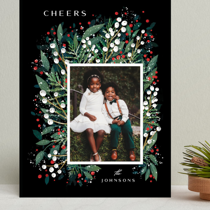 """""""First Flakes"""" - Grand Holiday Cards in Berry by Ana Sharpe."""