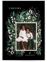 This is a red holiday photo card by Ana Sharpe called First Flakes with standard printing on smooth signature in grand.