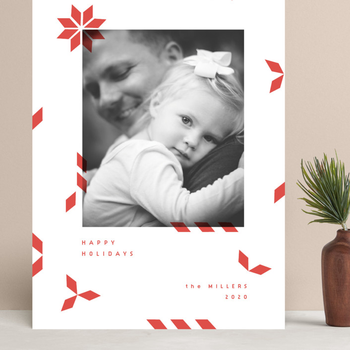 """geometric mail"" - Modern Grand Holiday Cards in Poinsetta by Sumak Studio."