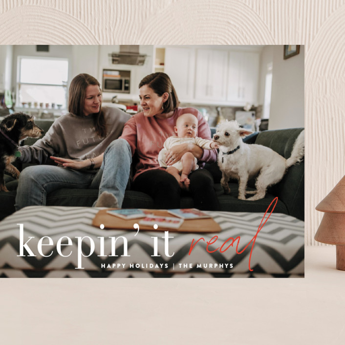 """""""Keepin' It Real"""" - Funny Grand Holiday Cards in Poinsettia by Up Up Creative."""