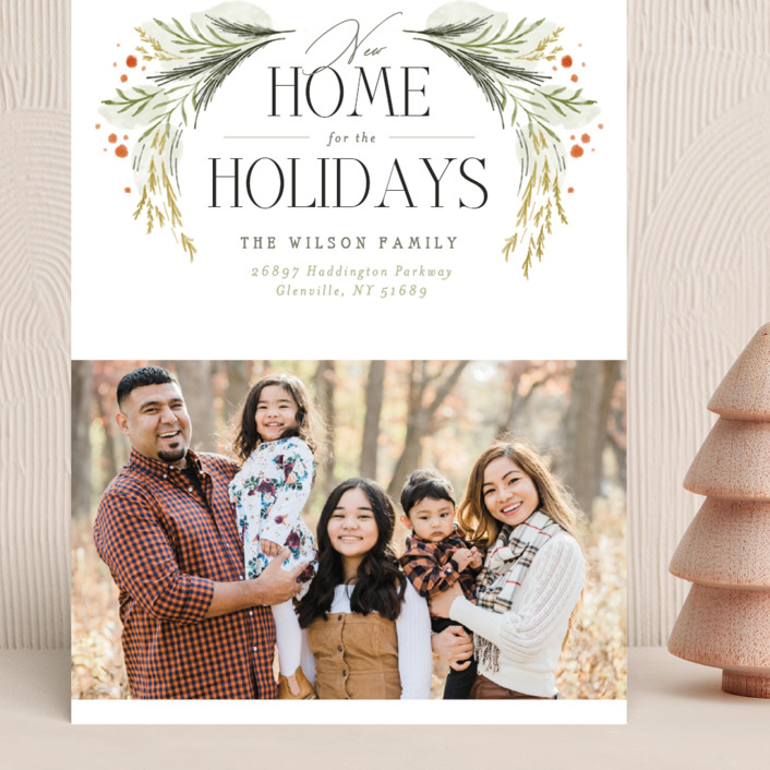 """""""New Home Garland"""" - Grand Holiday Cards in Wreath by Erin L. Wilson."""