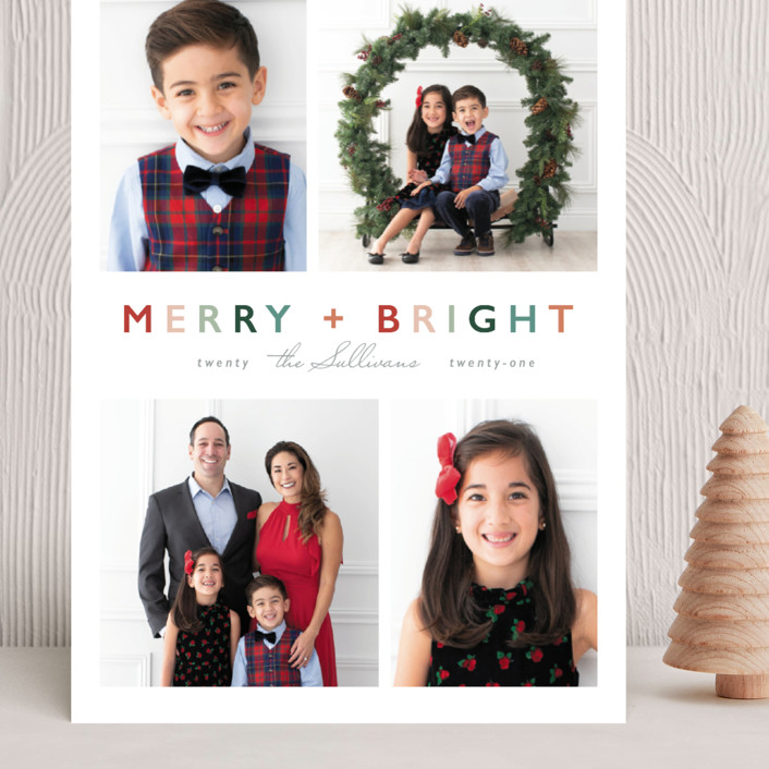 """""""Merry + Bright"""" - Modern Grand Holiday Cards in Fruitcake by Hudson Meet Rose."""
