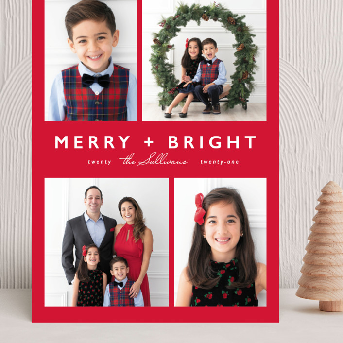 """""""Merry + Bright"""" - Modern Grand Holiday Cards in Rudolph by Caitlin Considine."""