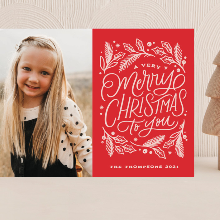 """""""Very Merry Christmas To You"""" - Bohemian Grand Holiday Cards in Cranberry by Kristen Smith."""
