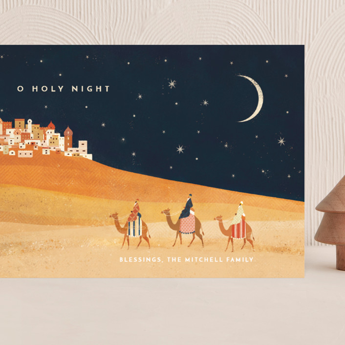"""""""O Holy Night"""" - Vintage Grand Holiday Cards in Midnight by Laura Mitchell."""