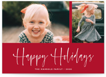 This is a red holiday photo card by Kaydi Bishop called A Scripted Duet with standard printing on smooth signature in grand.