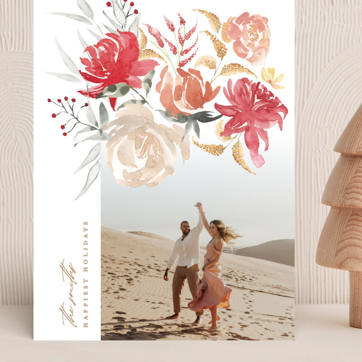 """""""bold christmas floral"""" - Grand Holiday Cards in Earth by Phrosne Ras."""