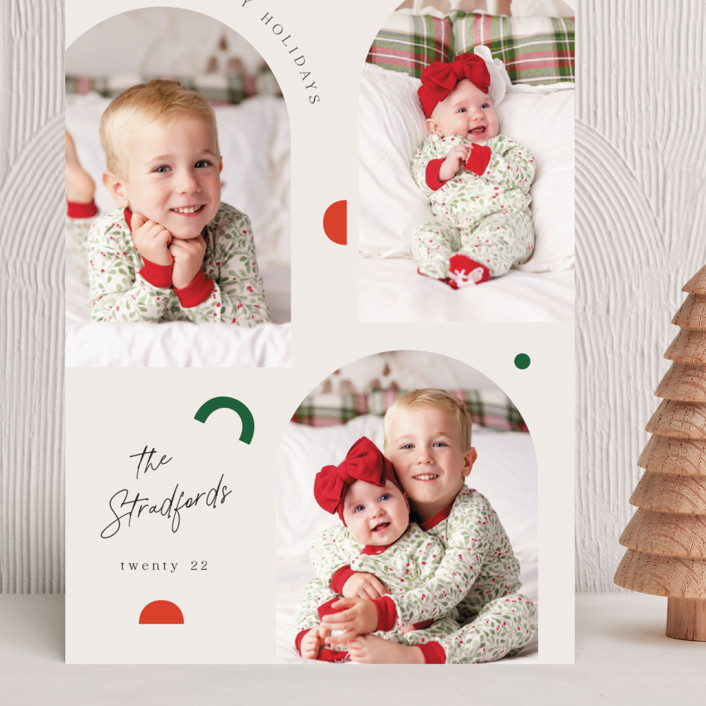 """""""Modern Shapes"""" - Modern Grand Holiday Cards in Snow by Elly."""