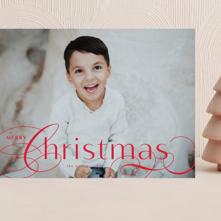 """""""Front Flourish"""" - Grand Holiday Cards in Ruby by Lauren Chism."""