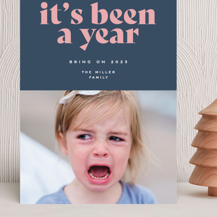 """""""It's been a year"""" - Grand Holiday Cards in Wintermint by Owl and Toad."""
