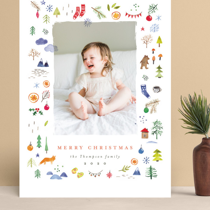 """merry little things"" - Bohemian Grand Holiday Cards in Snow by Anastasia Makarova."