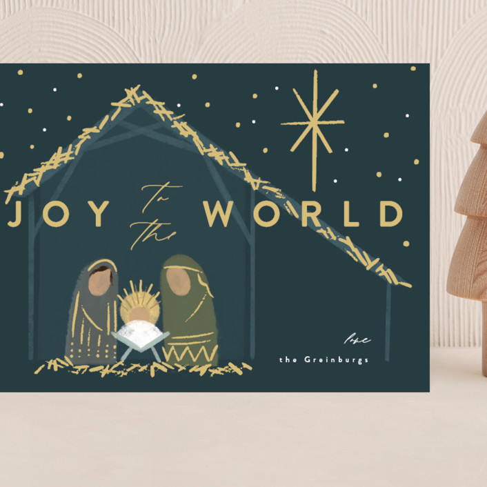 """""""Nativity"""" - Bohemian Grand Holiday Cards in Midnight by Rebecca Durflinger."""