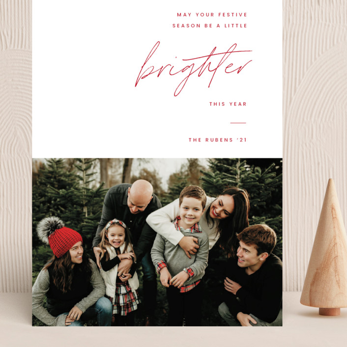 """""""Brighter"""" - Grand Holiday Cards in Coal by Blustery August."""