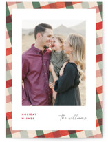 This is a red holiday photo card by Pixel and Hank called All Stripes with standard printing on smooth signature in grand.