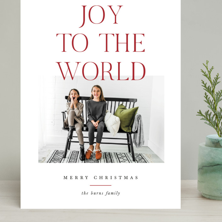 """""""All The Joy"""" - Grand Holiday Cards in Cranberry by Pixel and Hank."""