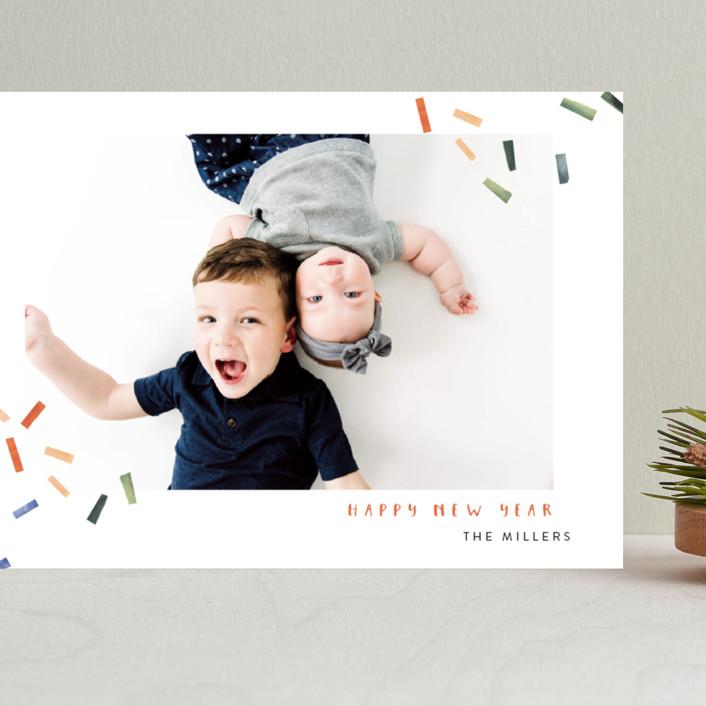 """Joyful Confetti"" - Modern Grand Holiday Cards in Poppy by Kelly Ventura."