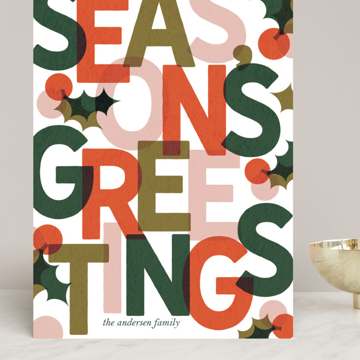 """""""Color Block Season's Greetings"""" - Grand Holiday Cards in Persimmon by Lissabeth Anglin."""