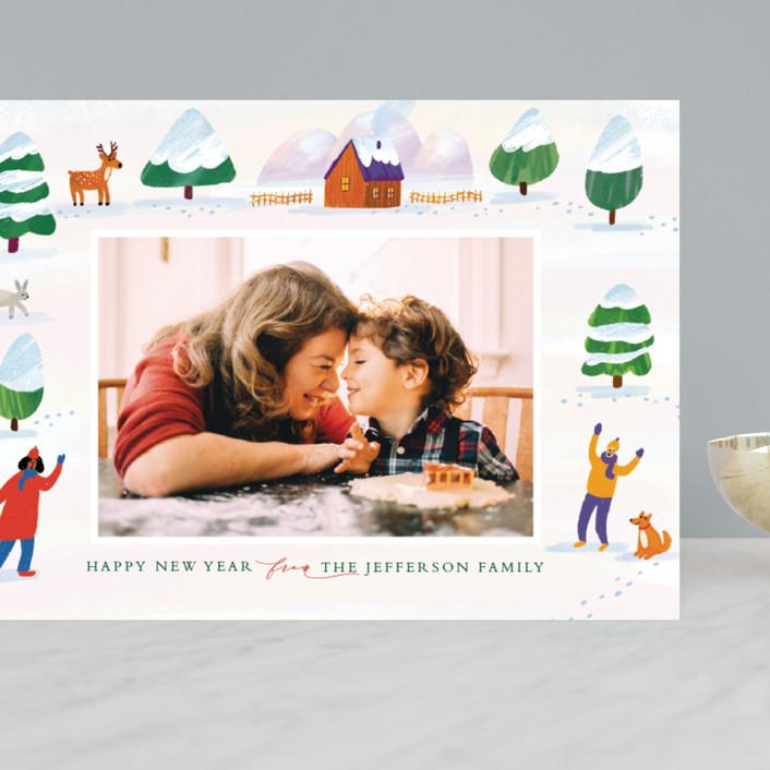 """winter wonderland landscape"" - Bohemian Grand Holiday Cards in Pumpkin by Alexandra Dzh."