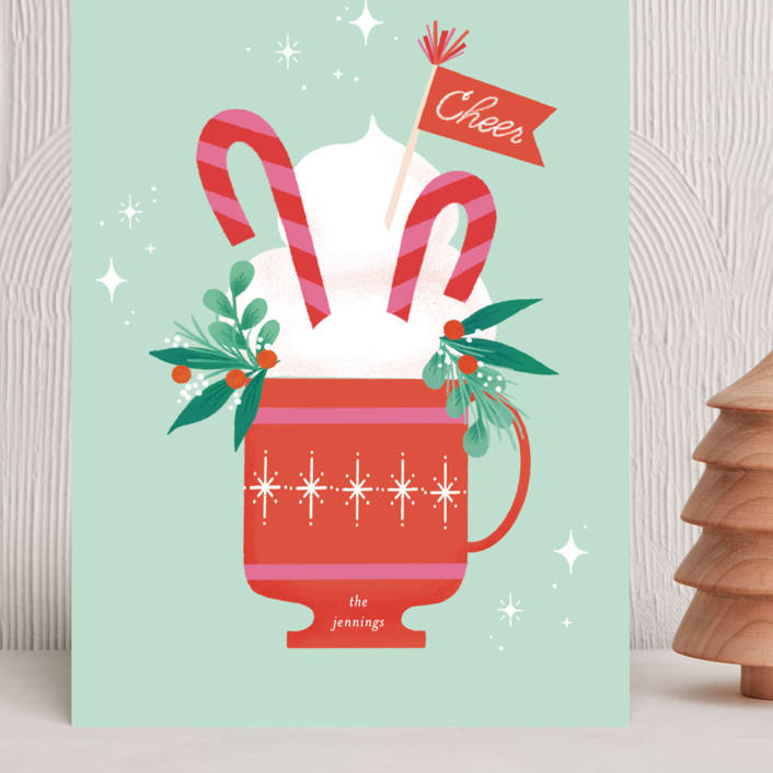 """""""Cup of Cheer"""" - Vintage Grand Holiday Cards in Mint by Itsy Belle Studio."""
