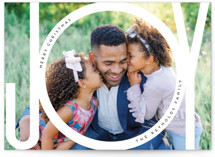This is a white holiday photo card by Beth Murphy called Joy Bubble with standard printing on smooth signature in grand.