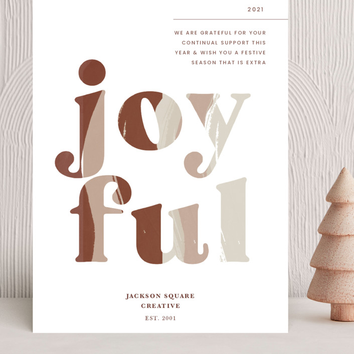 """""""Joyful"""" - Grand Holiday Cards in Port Wine by Blustery August."""