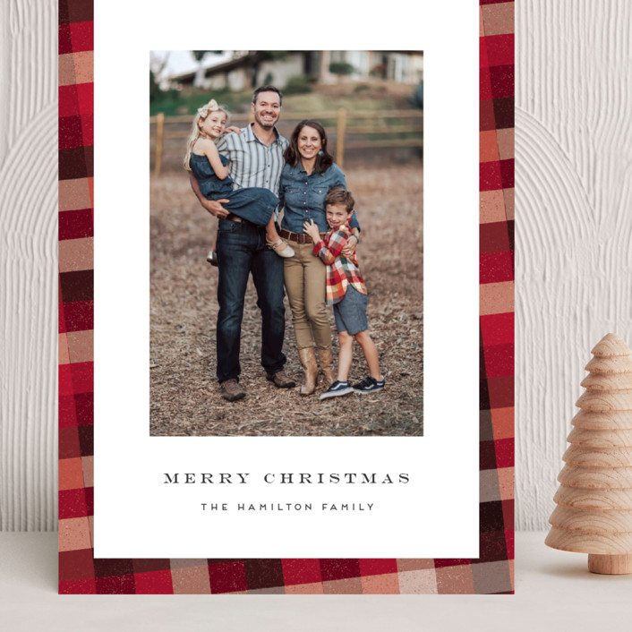 """""""Flannel"""" - Vintage Grand Holiday Cards in Cranberry by Amy Payne."""