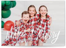 This is a white holiday photo card by Snow and Ivy called Merry Makers with standard printing on smooth signature in grand.