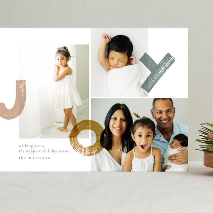 """bouncing brushed joy"" - Grand Holiday Cards in Tinsel by Aspacia Kusulas."