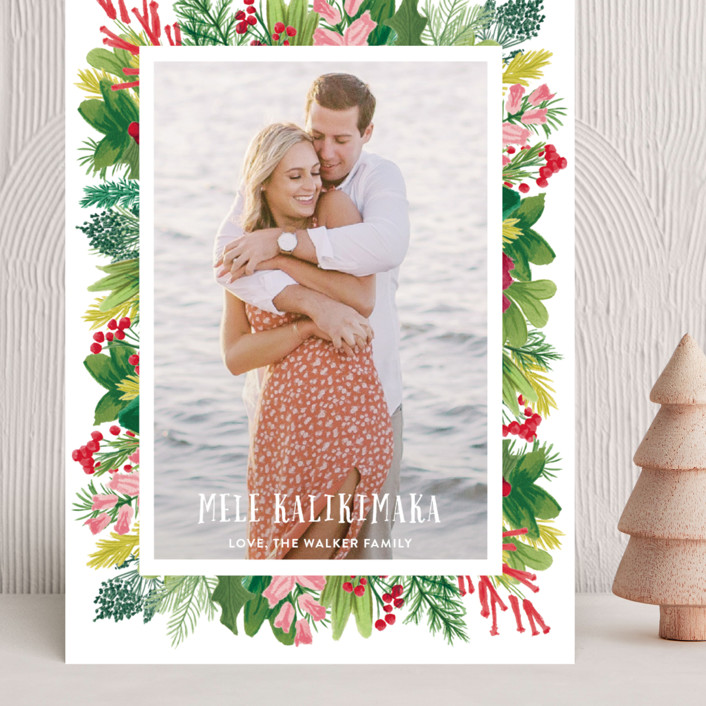 """Tropical Pines Frame"" - Grand Holiday Cards in Strawberry Punch by Shiny Penny Studio."