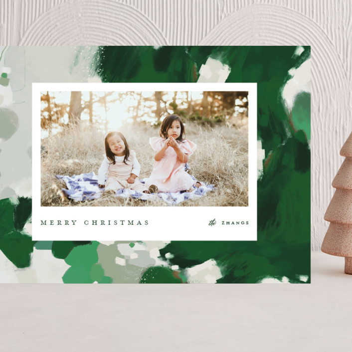 """""""Blithely"""" - Modern Grand Holiday Cards in Shamrock by Alaina Cherup."""