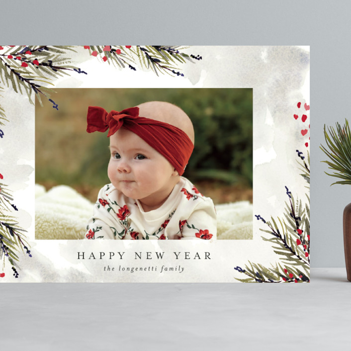 """""""Pine and Berry Study"""" - Grand Holiday Cards in Berry by Chris Griffith."""