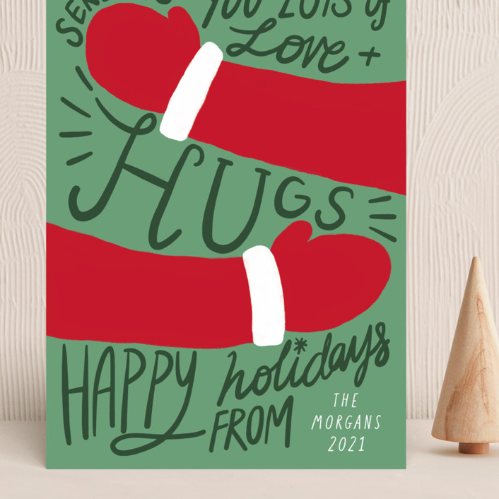 """Sending Hugs"" - Vintage Grand Holiday Cards in Pine Tree by Elly."
