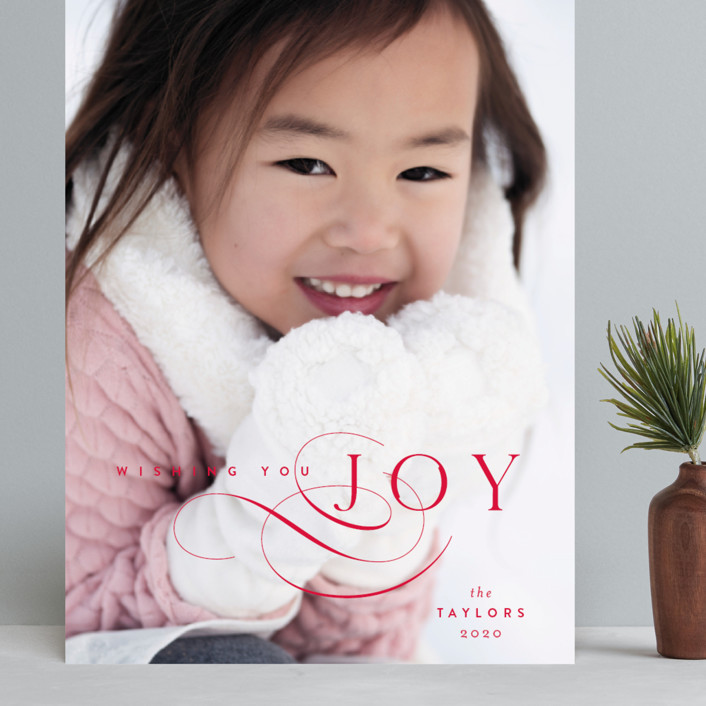 """""""Joy Flourish"""" - Grand Holiday Cards in Berry by Kristie Kern."""
