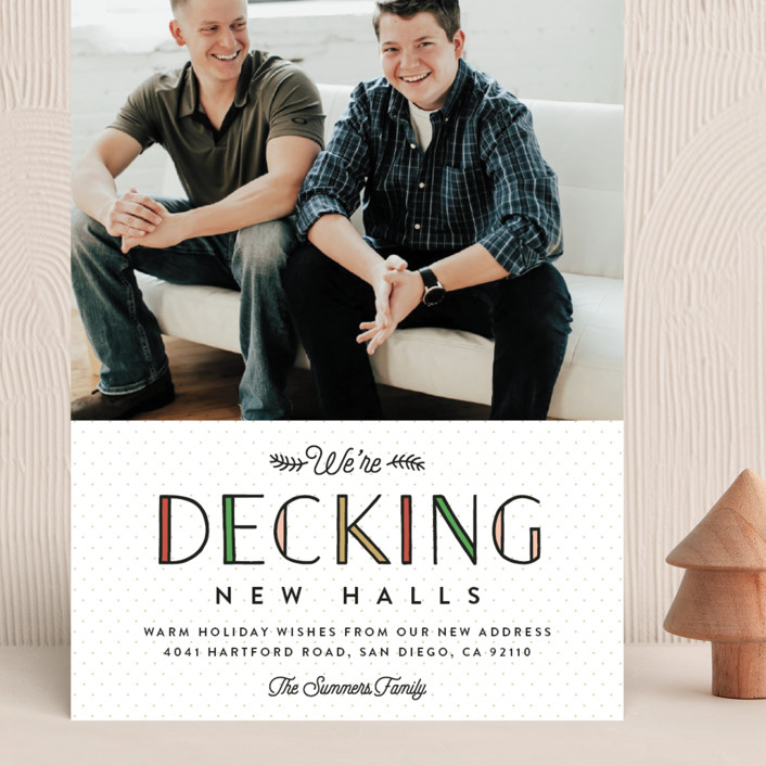"""""""Deck the New Halls"""" - Funny Grand Holiday Cards in Ivory by Erica Krystek."""