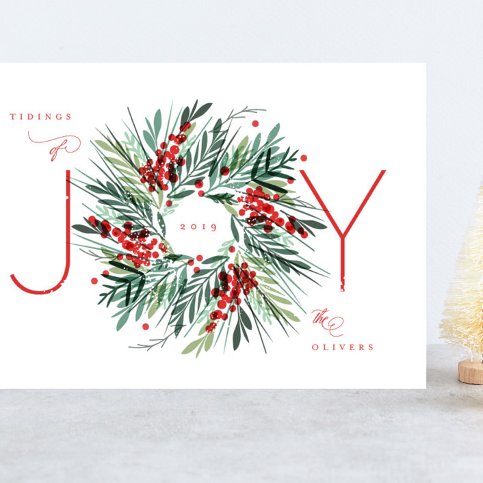 """Gathered"" - Grand Holiday Cards in Holly Berry by Kristie Kern."