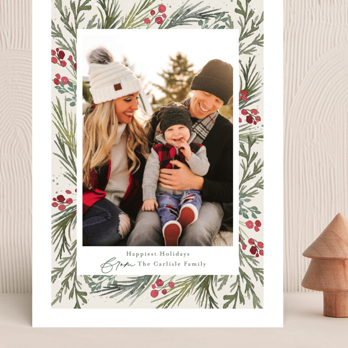 """""""Wintry Frame"""" - Grand Holiday Cards in Marshmallow by Jessica Williams."""