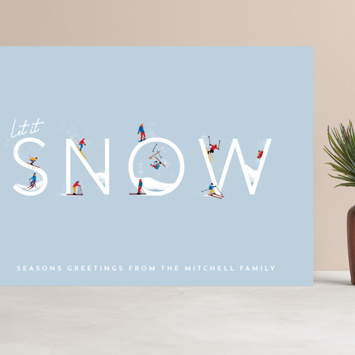 """Let it Snow Ski Hill"" - Modern Grand Holiday Cards in Frost by Laura Mitchell."