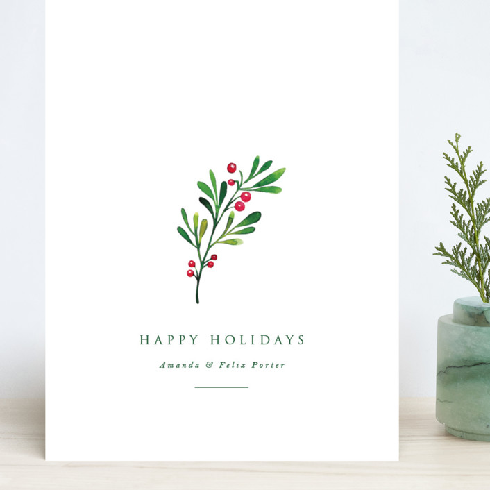 """Simple Holly"" - Grand Holiday Cards in Snow by Nicole Walsh."