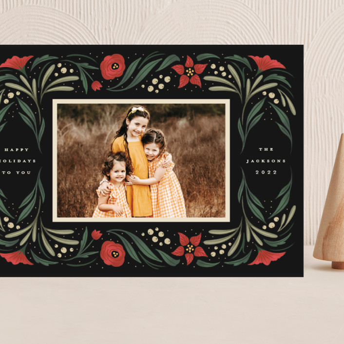 """""""Happy Holiday Frame"""" - Grand Holiday Cards in Pine by Grae."""