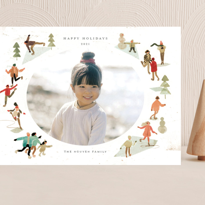 """""""Skate!"""" - Vintage Grand Holiday Cards in Forest by Morgan Ramberg."""