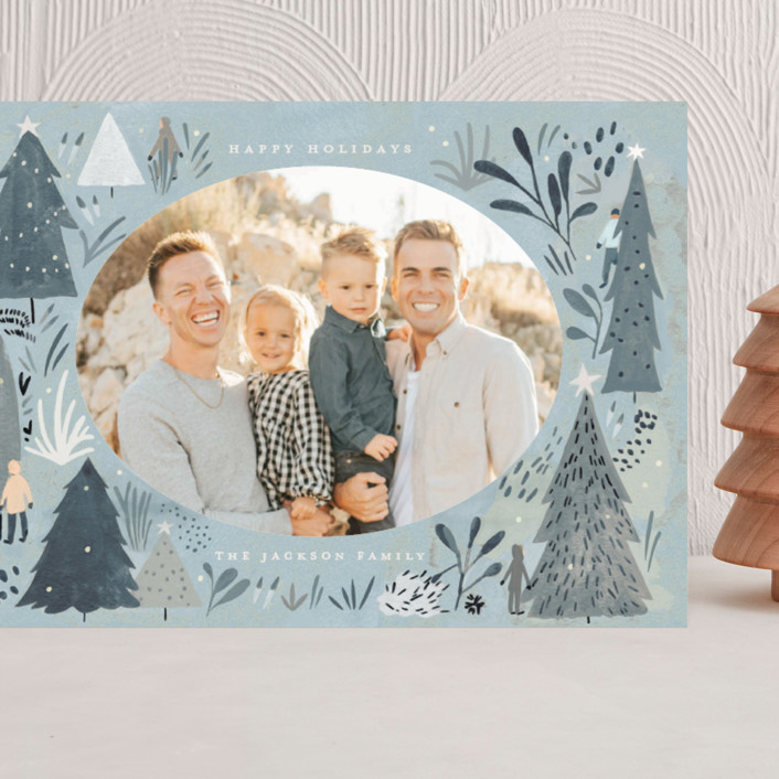 """""""Wonderland Forest"""" - Bohemian Grand Holiday Cards in Seafoam by Morgan Ramberg."""