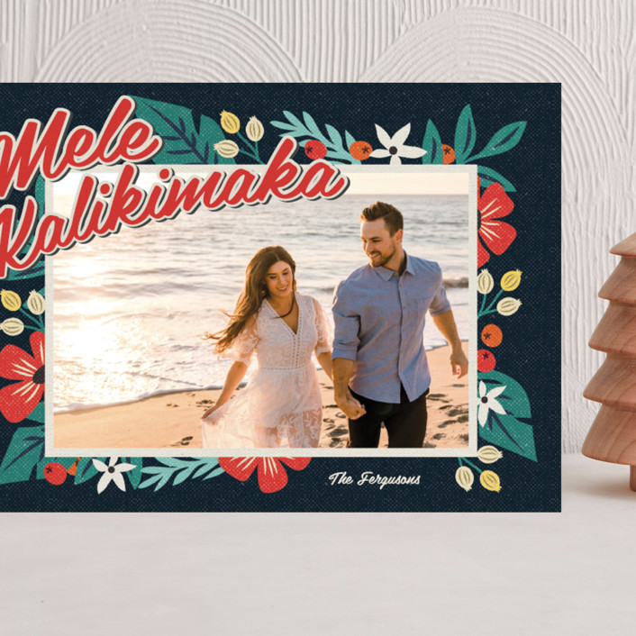"""""""Bold Tropic Florals"""" - Vintage Grand Holiday Cards in Midnight by Nam Bourassa."""