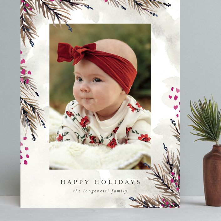 """Pine and Berry Study"" - Grand Holiday Cards in Berry by Chris Griffith."