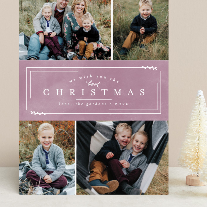 """Best Christmas"" - Grand Holiday Cards in Plum by peony papeterie."
